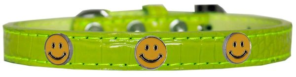 Dog Collars: Cute Dog Collar with HAPPY FACE Widgets on Faux Croc Dog Collar