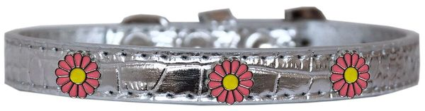 Dog Collars: Cute Dog Collar with PINK DAISY Widgets on Faux Croc Dog Collar in various Sizes & Colors