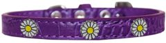 Dog Collars: Cute Dog Collar with WHITE DAISY Widgets on Faux Croc Dog Collar in Different Colors & Sizes USA
