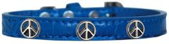 Dog Collars: Cute Dog Collar with PEACE SIGN Widgets on Faux Croc Dog Collar in Various Colors & Sizes