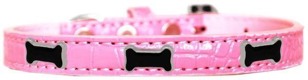 Dog Collars: Cute Dog Collar with BLACK BONE Widgets on Faux Croc Dog Collar in Various Colors & Sizes USA