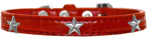 Dog Collars: Cute Dog Collar with SILVER STAR Widgets on Faux Croc Dog Collar in Various Colors & Sizes
