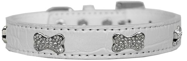 Dog Collars: Cute CRYSTAL BONE on Premium Croc Faux Dog Collar in Various Colors & Sizes