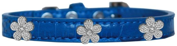 Dog Collars: Cute Dog Collar with SILVER FLOWER Widgets on Faux Croc Dog Collar in Different Colors & Sizes USA
