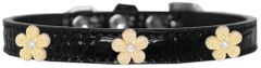 Dog Collars: Cute Faux Croc Dog Collar with Cute GOLD FLOWER Widgets in Different Colors & Sizes USA