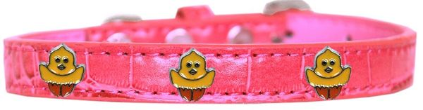 Dog Collars: Cute Faux Croc Dog Collar with Cute CHICKADEE Widgets in Different Colors & Sizes USA