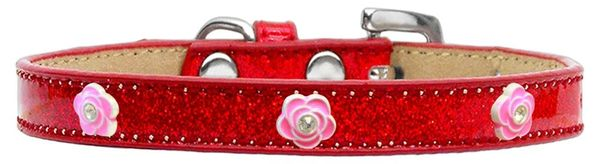 Widget Dog Collars: Ice Cream Dog Collar with BRIGHT PINK ROSE Widgets in Various Colors & Sizes
