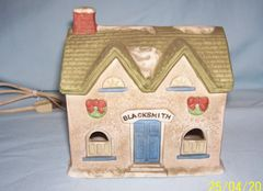 CHRISTMAS VILLAGE Lighted Porcelain BLACKSMITH Village Building