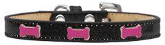 Widget Dog Collars: Ice Cream Dog Collar with PINK BONE Widgets in Various Colors & Sizes
