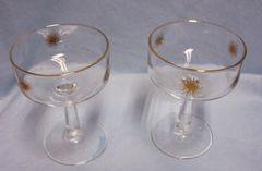 GLASSWARE: Pair Vintage Mid Century Modern Gold Atomic Starburst Stem Champagne/Wine Glasses