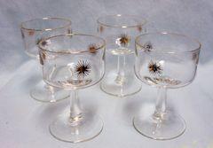 GLASSWARES: Vintage (4) Mid Century Modern Gold Atromic Starburst Dessert/Liquor Stemmed Glasses