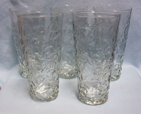 "GLASS WARE: Vintage (9) Clear Bark Texture Milano Flat Thumbler 6 3/8"" H by Anchor Hocking"