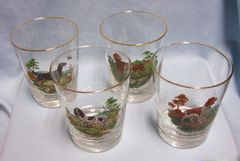 "GLASSWARE: Vintage Set of (4) Whiskey Barware Glasses Gold Trim 4 1/4"" H Dog Designs"