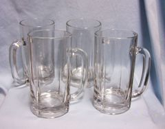 """BEER MUGS: Nice set of (4) Clear Glass 6 1/2"""" TallThick Clear Glass Beer Mugs Round Handle"""