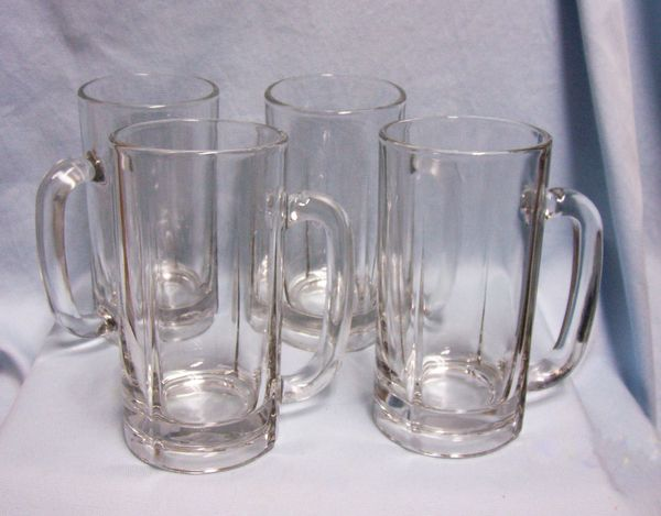 "BEER MUGS: Nice set of (4) Clear Glass 6 1/2"" TallThick Clear Glass Beer Mugs Round Handle"