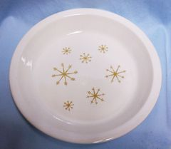 """PIE PLATE: Vintage Star Glow Ovenproof Snowflake Pattern by Royal 9 3/4"""" D USA"""