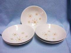 "FRUIT/DESSERT BOWLS: (5) Star Glow Ovenproof Snowflake Pattern 6 3/8"" Royal USA"