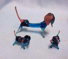 MINIATURES FIGURINES: Set (3) Vintage Blue Blown Glass Dog & Pups Collectibles