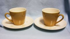 CUP & SAUCERS: (8) Sets Star Glow Mustard Color Cups Snowflake Pattern Royal USA