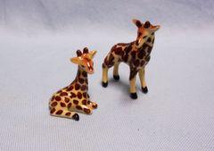 "MINIATURES FIGURINES: Pair 2001 Miniature Giraffes Porcelain Exquisitely Handpainted Standing Giraffee: 1 7/8"" x 2"" high"