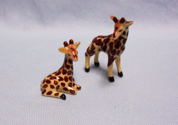 "MINIATURES FIGURINES: Pair 2001 Miniature Giraffes Porcelain Exquisitely Handpainted Standing Giraffee: 1 7/8"" x 2"" high"