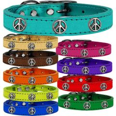 Dog Collars: METALLIC Leather Dog Collar in Different Colors and Sizes with PEACE SIGN Widgets by Mirage USA