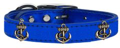 Dog Collars: METALLIC Leather Dog Collar in Different Colors and Sizes with BRONZE ANCHOR Widgets