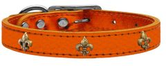 Dog Collars: METALLIC Leather Dog Collar in Different Colors and Sizes with FLEUR DE LIS Widgets
