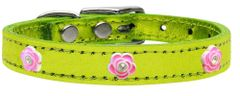 Dog Collars: Gunine METALLIC LEATHER Dog Collar in Different Colors and Sizes with BRIGHT PINK ROSE Widgets
