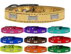 Leather Dog Collars: METALLIC Leather Dog Collar USA - SILVER BONE Widgets