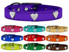 Leather Dog Collars: Genuine METALLIC LEATHER Dog Collar with SILVER HEARTS Widgets in Various Colors and Sizes