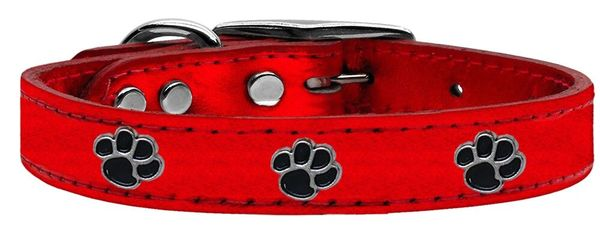 Leather Dog Collars: METALLIC Leather Dog Collar Mirage Pet Products USA - Black PAWS