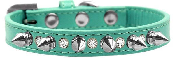 "Spike Dog Collars: Unique 1/2"" Wide Collar One Row Clear Crystals & Silver Spikes on Dog Collar"