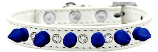 "Spike Dog Collars: One Row Clear Crystals with Blue Spikes on 1/2"" Wide Dog Collar"