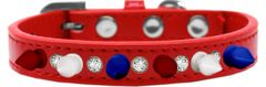 "Spike Dog Collars: One Row Clear Crystals with Blue, Red, White Spikes on 1/2"" Wide Dog Collar"