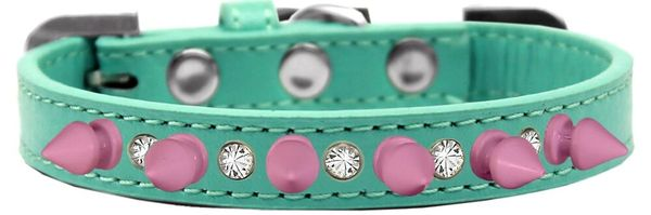 "Spike Dog Collars: Beautiful Double Clear Crystals & Row Light Pink Spikes on 3/4"" Dog Collar in Various Sizes & Colors"