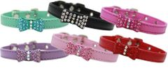 DOG COLLAR: Faux Leather Bow-Dacious Crystal Dog Collar with Rhinestone Encrusted Bow