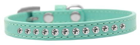 "PUPPY COLLAR: 3/8"" Wide Puppy Collar with 1 row of Clear Rhinestones in 5 Sizes & 7 Colors"