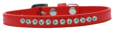 "PUPPY COLLAR: 3/8"" Wide Puppy Collar 1 row of AB Crystals in 5 Sizes & 7 Colors"