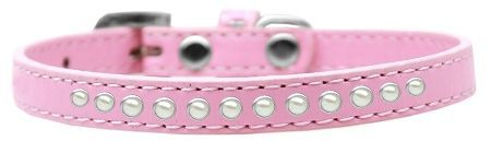 "PUPPY COLLAR: 3/8"" Wide Puppy Collar 1 Row Pearl Stones in 5 Sizes & 7 Colors Made in USA"