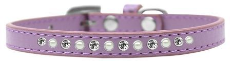 "PUPPY COLLAR: Cute 3/8"" Wide Alternating Pearls & Clear Crystals Puppy Collar in Various Sizes & Colors"