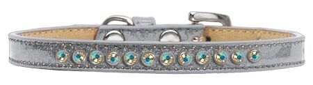 "PUPPY COLLAR: Cute 3/8"" Wide Puppy Collar 1 Row of AB Crystals in 5 Sizes & 9 Colors"