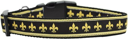 Nylon Ribbon Dog Collar - BLACK AND GOLD FLEUR DE LIS with Durable Hardware in Several Sizes - Matching Leash sold separately