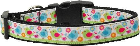 Nylon Ribbon Dog Collar - CHIRPY CHICKS with Durable Hardware in Several Sizes - Matching Leash sold separately