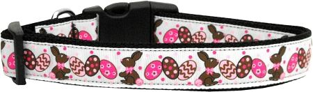 Nylon Ribbon Dog Collar - CHOCOLOATE BUNNIES with Durable Hardware in Several Sizes - Matching Leash sold separately