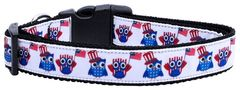 Nylon Ribbon Dog Collar - AMERICAN OWLS with Durable Hardware in Several Sizes - Matching Leash Sold Separately