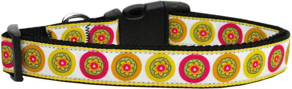 Nylon Dog Collars: Nylon Ribbon Collar AUTUMN DAISIES by Mirage Pet Products - Matching Leash Sold Separetly