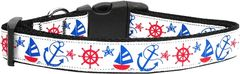 Nylon Dog Collars: Nylon Ribbon Collar ANCHORS AWAY by Mirage Pet Products - Matching Leash Sold Separetly