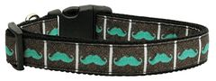 Dog Collars: Nylon Dog Collar AQUA MOUSTACHES by Mirage Pet Products USA - Matching Leash Sold Separately