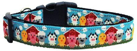 Dog Collars: Nylon Ribbon Collar BARNYARD BUDDIES by Mirage Pet Products - Matching Leash Sold Separately